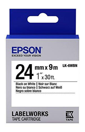 "Epson Labelworks Standard Lk (Replaces Lc) Tape Cartridge ~1"" Black On White (Lk-6Wbn) - For Use With Labelwork Lw-600P An"