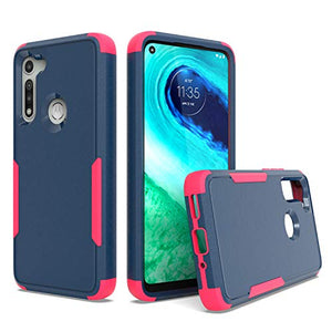 UNC Pro Cell Phone Case for Motorola Moto G Fast, Heavy Duty Hybrid Case, Full Edge Shockproof Bumper Case, Navy Blue/Hot Pink