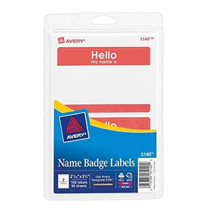 Avery Border Name Badge Labels - Red - 100 - 2.34 X 3.375 Inches