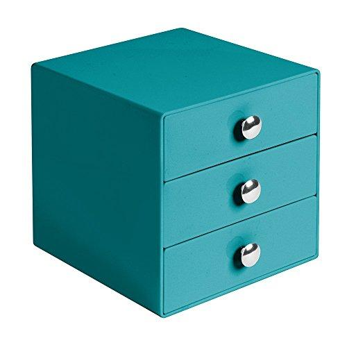Interdesign 3-Drawer Storage Organizer For Cosmetics, Makeup, Beauty Products Or Kitchen/ Office Supplies, Teal