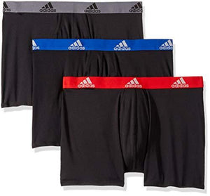 Adidas Men'S Climalite Boxer Briefs Underwear (3-Pack) Black/Collegiate Royal Black/Scarlet Black/Onix Medium