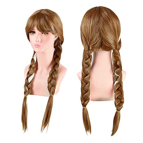 Anogol Free Hair Cap+Brown Wig for Princess Long Braided Wig Cosplay Wig for Kids