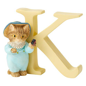Enesco Beatrix Potter Alphabet Collection Letter K Tom Kitten Figurine, 2.68 Inch, Multicolor