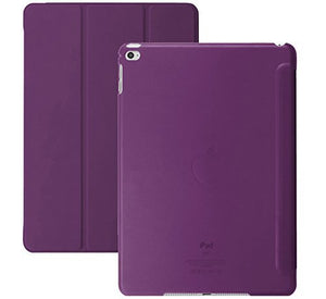 Khomo Dual Super Slim Cover With Clear Back And Smart Feature For Ipad Air 2 Case, Purple (Air2-Seethough-Purple)