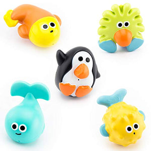 Sassy Bathtime Pals Squirt and Float Toys 9+ Months Set of 5 Sea Characters