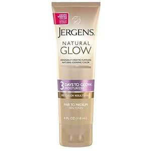 Jergens Natural Glow - 3 Days To Glow Moisturizer Fair To Medium Skin, 4 Ounce