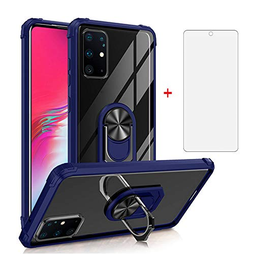 Phone Case for Samsung Galaxy A51 4G with Tempered Glass Screen Protector Cover and Cell Accessories Magnetic Slim Ring Holder Stand Kickstand Glaxay A 51 Gaxaly M40S 51A A515F Cases Women Men Blue