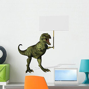 Wallmonkeys A T-rex Dinosaur Holding a Blank Sign Wall Decal Peel and Stick Graphic WM218179 (24 in H x 23 in W)