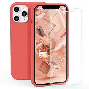 Zelaxy Iphone 12 / Iphone 12 Pro Case, Liquid Silicone Rubber Gel Case With Screen Protector - Orang