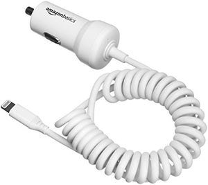 AmazonBasics Coiled Cable Lightning Car Charger - 5V 12W - 1.5-Foot, White, 5-Pack