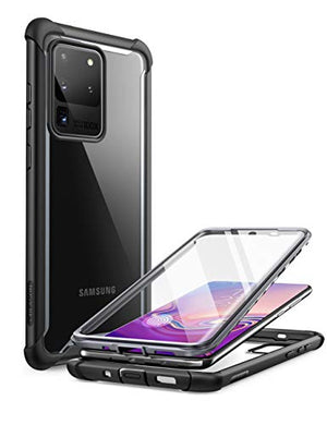 i-Blason Ares Case for Samsung Galaxy S20 Ultra 5G (2020 Release), Dual Layer Rugged Clear Bumper Case with Built-in Screen Protector (Black)
