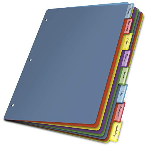 Cardinal Plastic Binder Dividers without Pockets, 8-Tab, Insertable Multicolor Tabs, Letter Size, 1 Set (84019), 8-1/2 x 11