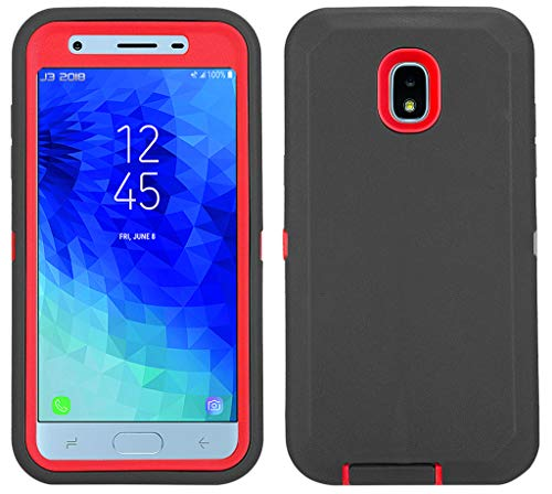 Annymall Galaxy J7 2018 Case, Heavy Duty Shockproof Defender Armor Protective Cover with Built-in Screen Protector for Samsung J7 2018/ Galaxy J7 Aero/ J7 Refine/ J7 Star/ J7 Crown(2018) (Black/red)