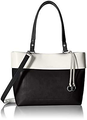 Calvin Klein Patty Faux Leather East/West Tote, Black/White