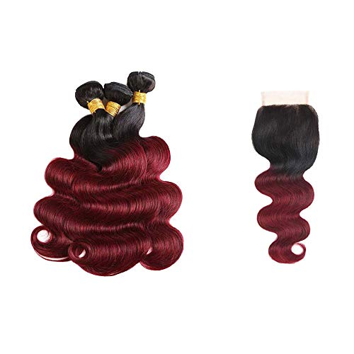 Seelaak 10A Ombre 1b/99j Body Wave Hair Bundles with 4x4 Free Part Closure Burgundy Color Hair Extensions (14 16 18+12)