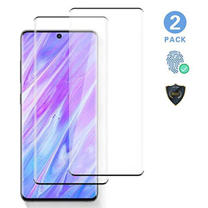 "2 Pack S20 Glass Screen Protector, Support Fingerprint Recognition,Tempered Glass 3D Full Edge Covered, 9H Hardness Case Friendly Glass Protector, For Galaxy S20 (6.2"")"