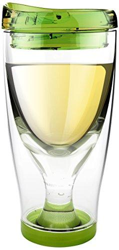 Asobu Chill Vino2Go Insulated Wine Tumbler, 10-Ounce, Green