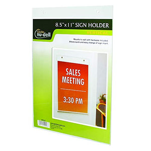 Nu-Dell 8.5 x 11 Inches Vertical Wall Mount Sign Holder, Clear