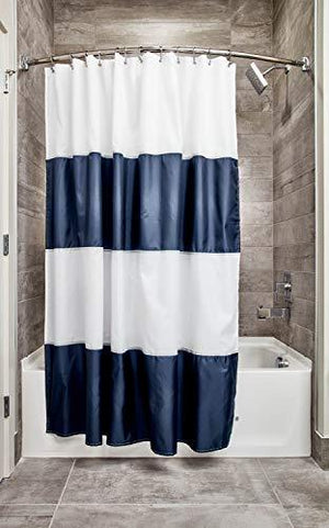 "Interdesign 26901 Mildew-Free Water-Repellent Zeno Shower Curtain, 72 By 72"", Navy/White Standard"