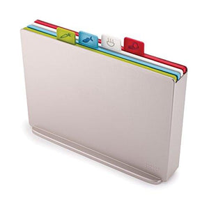 Joseph Joseph 60134 Index Plastic Cutting Board Set with Storage Case Color-Coded Dishwasher-Safe Non-Slip, Large, Silver