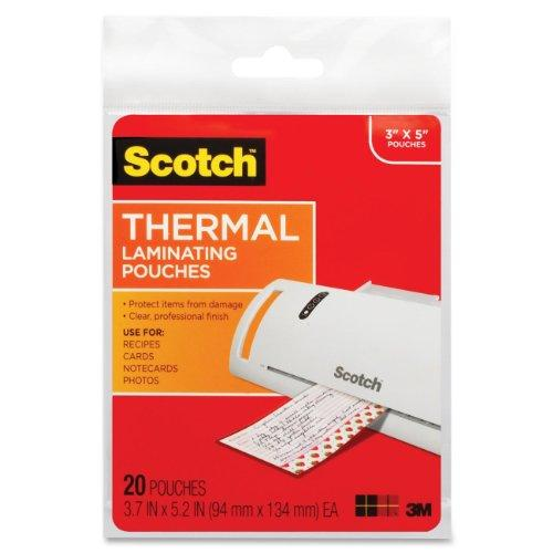 3M Scotch Thermal Laminating Pouches, 3.7 X 5.2-Inches, 20-Pouches (Tp5902-20)