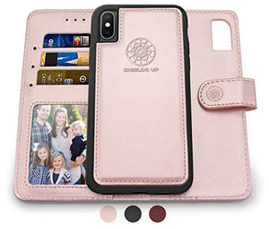 Shields Up iPhone Xs Max Wallet Case, [Detachable] Magnetic Wallet Case, Durable and Slim, Lightweight with Card/Cash Slots, Wrist Strap, [Vegan Leather] Cover for Apple iPhone Xs Max Case -Rose Gold