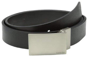 Calvin Klein Men'S 32Mm Reversible Flat Strap Plaque Buckle With Logo Belt, Black, 42
