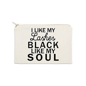 I Like My Lashes Black Like My Soul 12 Oz Cosmetic Makeup Cotton Canvas Bag - (Natural Canvas)