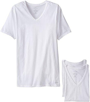 Calvin Klein Men's Undershirts Cotton Classics 3 Pack Slim Fit V Neck Tshirts, White, Small