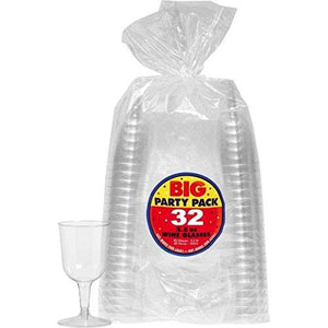 Amscan 350369.86 Big Party Pack Clear Plastic Wine Glasses, 5.5 Oz (32