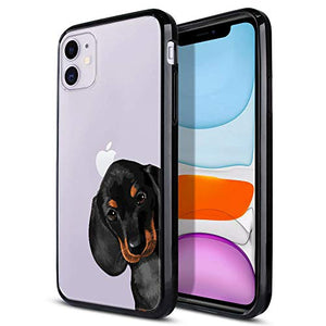 FINCIBO Case Compatible with Apple iPhone 11 6.1 inch 2019, Slim Shock Absorbing TPU Bumper + Clear Hard Protective Case Cover for iPhone 11 (NOT FIT 11 Pro) - Dachshund Puppy Dog Hide and Seek