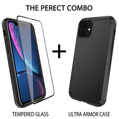 Luvvitt Ultra Armor Case Designed for iPhone 11 + Tempered Glass Screen Protector + Removable Metal Plate for Magnetic Holder (car Mount Cradle is not Included) for Apple 11 XI 6.1 inch 2019 - Black