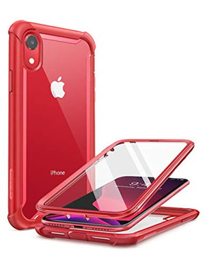 i-Blason Ares Case for iPhone XR 2018, Full-Body Rugged Clear Bumper Case with Built-in Screen Protector (Red)