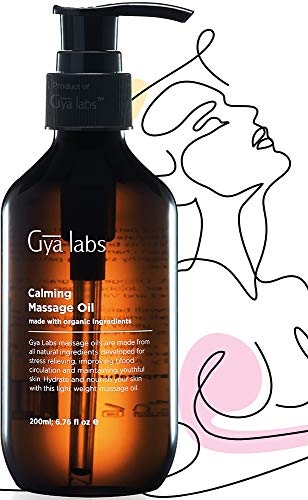 Gya Labs Calming Massage Oil for Serene Sleep & Ache Free Days-Lavender, Chamomile & Organic Argan Infused Body Oil for Hydrated Skin-100% Pure & Natural Massage Lotion for Massage Therapy-6.76 fl.oz
