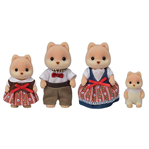Calico Critters Caramel Dog Family, Dolls, Dollhouse Figures, Collectible Toys