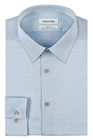 "Calvin Klein Men'S Slim Fit Herringbone Point Collar Dress Shirt Blue 15.5"" Neck 34""-35"" Sleeve"