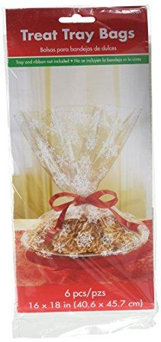 "Amscan Christmas Snowflake Tray Plastic Party Favour Treat Bag (6 Pieces), Clear, 18""."
