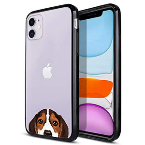 FINCIBO Case Compatible with Apple iPhone 11 6.1 inch 2019, Slim Shock Absorbing TPU Bumper + Clear Hard Protective Case Cover for iPhone 11 (NOT FIT 11 Pro) - Beagle Puppy Dog