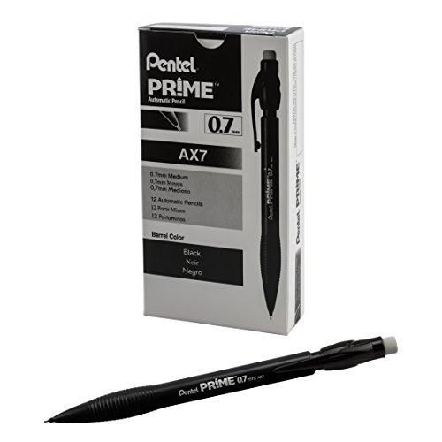 Pentel Prime Mechanical Pencil 0.7Mm, Black Barrel, Box Of 12 (Ax7A)