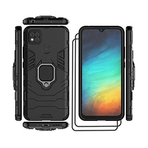 for Xiaomi Redmi 9C Case with Tempered Glass Screen Protector [2Pack], Military Grade Phone Case with Car Mount Ring Kickstand for Xiaomi Redmi 9C (Black)