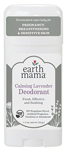 Earth Mama Deodorant For Sensitive Skin, Pregnancy And Breastfeeding Calming Lavender, 3-Fluid Ounce