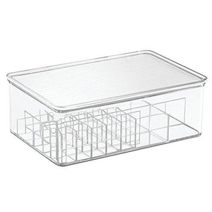 Interdesign Clarity Lipstick And Cosmetic Organizer With Lid For Vanity Cabinet - Clear