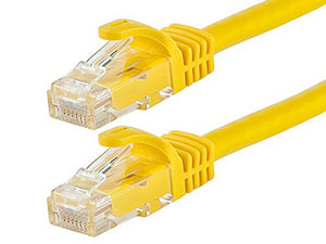 Monoprice Flexboot Cat6 Ethernet Patch Cable - Network Internet Cord - RJ45, Stranded, 550Mhz, UTP, Pure Bare Copper Wire, 24AWG, 10ft, Yellow