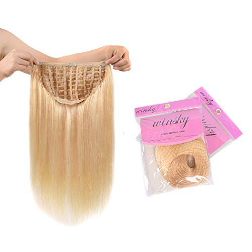"WINSKY 16"" Half Wig Real Human Hair Extensions Clip in For Women - Silky Straight One Piece U-part Short Hair Hairpiece (16inch #613 120g Bleach Blonde)"