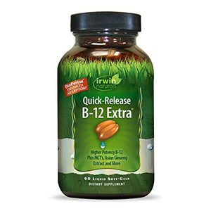 Irwin Naturals Quick-Release B-12 Extra 3,000mcg High Potency Methylcobalamin Vitamin - Fast Enhanced Absorption with MCT + Asian Ginseng - Natural Energy Boost - 60 Liquid Softgels
