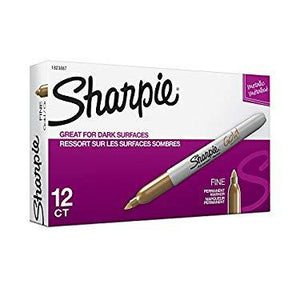 Sharpie 1823887 Metallic Permanent Markers, Fine Point, Gold, 12-Count