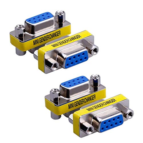 BeElion 4PCS DB9 Serial RS232 Female to Female Mini Coupler Adapter Connectors,F/F VGA Gender Changer