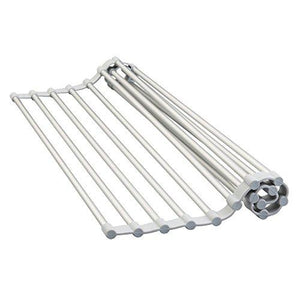 Interdesign Metro Rustproof Aluminum Over-The-Sink Dish Drainer Rack For Drying Glasses, Utensils, Bowls, Plates - Silver/