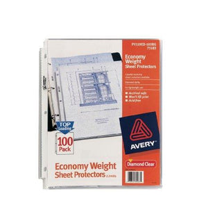 Avery Economy Clear Sheet Protectors, Acid Free, Bag Of 100 (75183)