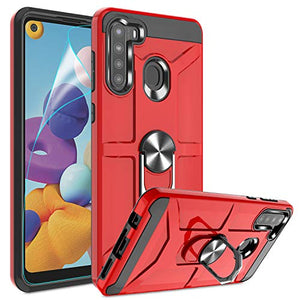 Atump Galaxy A21 Case with HD Screen Protector, 360° Rotation Ring Holder Kickstand [Work with Magnetic Car Mount] PC+ TPU Phone Case for Samsung Galaxy A21, Red